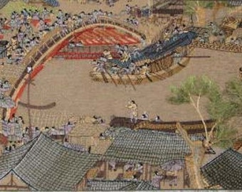 chinese silk embrider.chinese art-Along the River During the Qingming Festival,embroidery art