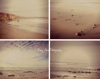 Carlsbad Beach CA Photo Set of Four San Diego photograph aged ocean
