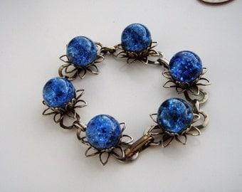 Vintage  Silver tone Blue  Glass  Bracelet