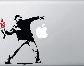 Molotov Guy Throwing Flowers Vinyl Decal for Macbooks, Laptops and More...