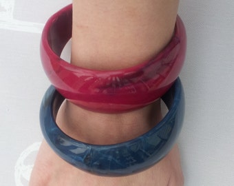 2 Vintage Asymmetrical Bangles Blue and Pink