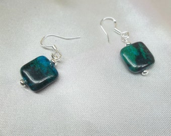 Malachite Earrings Azurite Earrings Chrysocolla Dangle Earrings Sterling Silver Earrings Real 14k Gold Earrings or Gold Filled Earrings