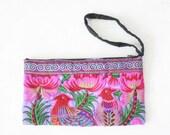 Purple Nok Wristlet HMONG Embroidered Handmade Thailand Fair Trade (BG810-PUN)