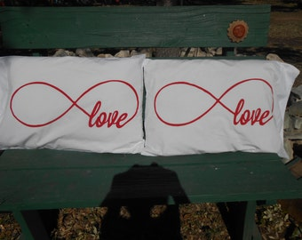 Eternity Circle Hand Painted on Standard Pillowcases, Bedroom Decor, Couples Gifts