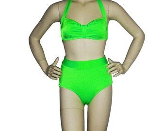 High waisted swimwear, Neon green bikini, pinup bikini