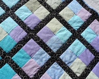 Watercolor Quilt, Pastel Quilt, Black Quilt, Watercolor Windows Quilt, Multicolored Quilt, Blue Quilt, Green Quilt, Purple Quilt, Teal Quilt