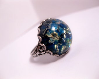 Blue Japanese Water Opal Ring - Adjustable