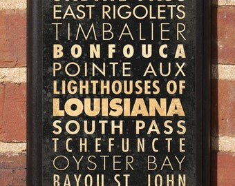 Louisiana LA Lighthouses Wall Art Sign Plaque Gift Present Home Decor Cubits Gap Cajun Creole South Pass Oyster Timbalier Rigolets Classic