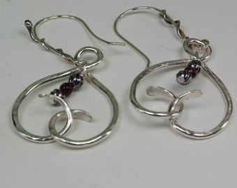 Silver Heart Earrings - Sterling Silver and Garnet Heart Earrings