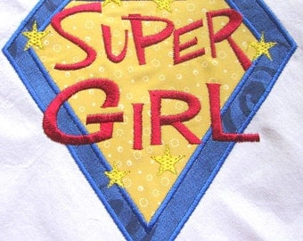 Super Girl Machine Applique Embroidery Design - 4x4, 5x7 & 6x8
