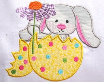 Grey Easter Bunny Machine Applique Embroidery Design - 4x4, 5x7 & 6x8