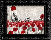 Wizard Of Oz Poppy Field - Frank Baum - Dictionary Print Vintage Book Print Page Art Upcycled Vintage Book Art