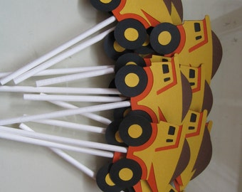 12 dump truck cupcake toppers