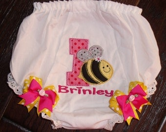 Bumblebee Birthday Bloomers, Personalized Bee Bloomers, Bee Birthday Bloomers, Embroidered Bee Bloomers