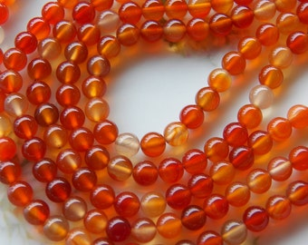10mm Natural Carnelian Polished Round Semi-Precious Beads, Half Strand (INDOC945)