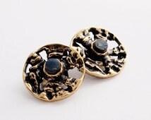 Modernist Pentti Sarpaneva Bronze Bark Earrings Finland Scandinavian Nordic 1960s
