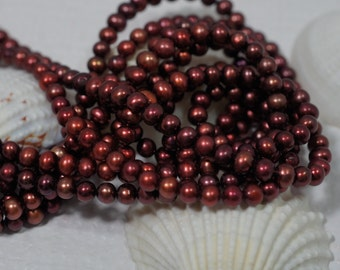 Pearls Merlot Freshwater pearls  4.5 mm round off Jewelry Making  Supplies