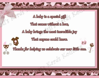 Pink and Brown Cheetah Print Thank You Card 4x6 Downloadable Jpeg File