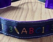 NOODLE HUGGER Non slip ribbon headband - teacher/ABC 123/blackboard - 7/8 inch (running, working out, everyday: women and girls)