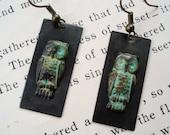 Night Owl Earrings - Patina Owl, Gun Metal Black Earring, Antique Brass Earrings