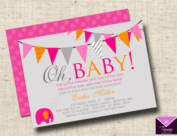 Printable OH BABY - Modern Baby Shower Invitations - Baby Boy or ...