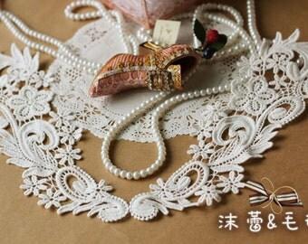 Venice Lace Collar, White Lace Collar, Lace Applique, Lace Doily Set