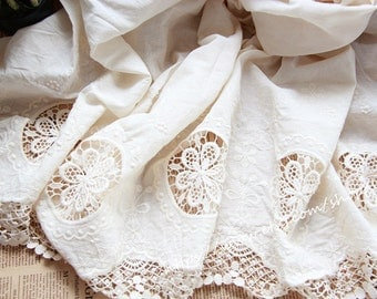 Eyelet Cotton Lace Fabric in Off White, Retro Hollowed Flower Lace Embroidery Fabric Eyelet Lace- Fabric by yard
