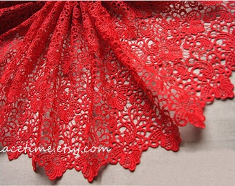 SALE Red Lace Fabric Crocheted Gown Fabric Hollowed Out Embroidered Florals Lace Fabrics Retro Venice Lace