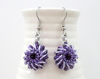 Purple chainmaille earrings, mini Whirlybirds