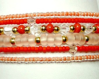 Memory Wire Statement  Cuff Bracelet in Coral and Orange