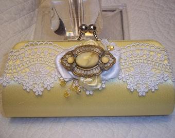 Bridal Clutch - Yellow Wedding - Art Deco - Lace Clutch in Daffodil, Yellow Accessories - A Bijoux Bridal Chicago Signature Design