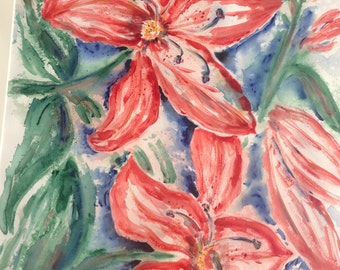 Red Lily Watercolor