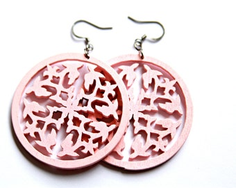 Pale Pink Round Wood Dangles