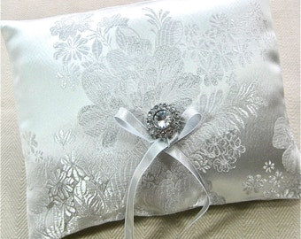 White Ring Bearer Pillow, White brocade with Silver Embroidery Ring Pillow