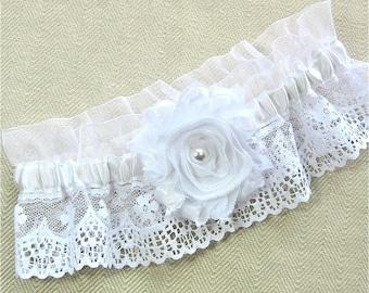 White Lace Bridal Garter with Shabby Chiffon Rose. Wedding Garter