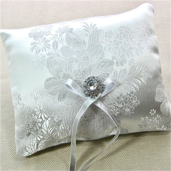 items similar to white ring bearer pillow white brocade