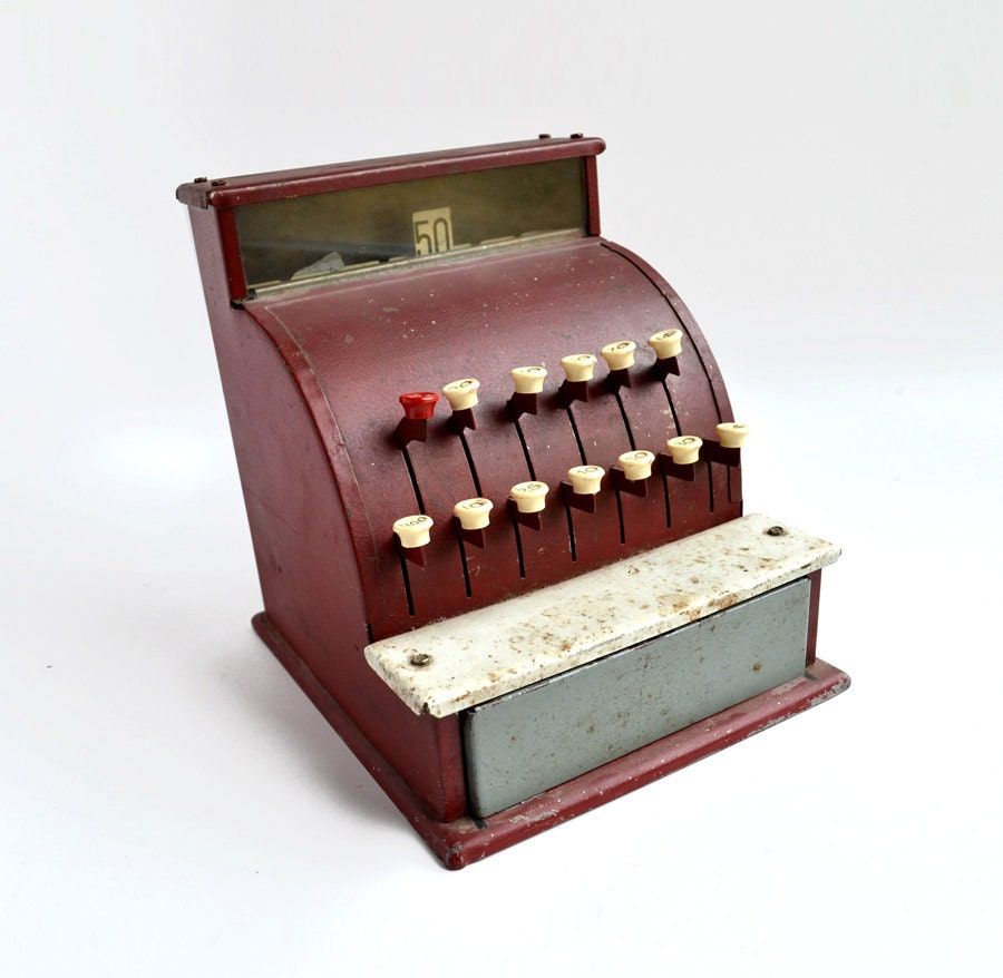 Toy Cash Register : Vintage tom thumb red toy cash register from elizabeth rosen