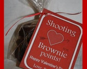 """Valentine's Day Teacher/Boss """"Shooting For Brownie Points"""" Printable DIY Treat/Bag Tag, Pink or Red"""