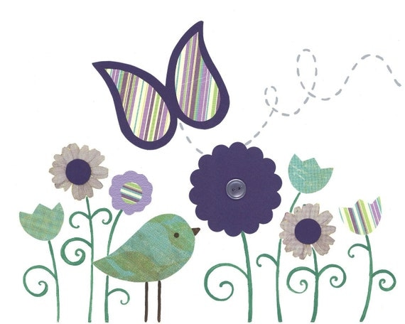 Lavender aqua nursery, baby art print, Bird Nursery, Butterfly Kids Wall Art, Children's room decor, baby art, 8x10 Print, Brooklyn Decor