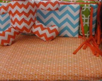 Chevorn Geometrc Baby Bedding Crib Set Orange Turquoise Lime Choice of Fabrics