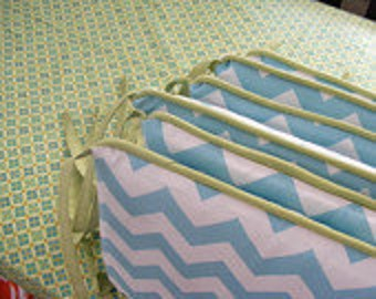 Custom Crib Bumpers / Six Piece / Chevron or Any Fabric Choice with Piping