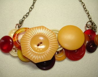 SPICE  - BAKELITE - Button Necklace - Vintage Button Jewelry - Red - Cream Corn yellow - Burgundy - Tan - Collectible buttons