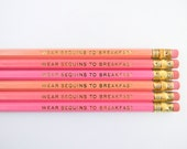Wear Sequins to Breakfast Pencils - Pink, Salmon, & Gold , Set of 6 - AmandaCatherineDes
