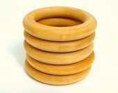 Set of 5 Natural Organic 3 inch Wood Maple Teething Rings WHOLESALE
