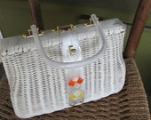 Vintage White Wicker and Lucite Handbag Made in Hong Kong