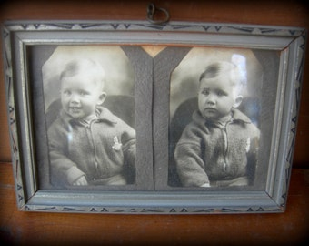 Vintage photo 1930s little boy infant old frame