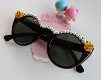 Baroque Brown Tortoise Cat Eye Sunglasses with Gold Roses & Ivory Pearl Detailing