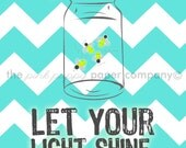 Let Your Light Shine firefly mason jar 5x7 print for nursery/child's room (you choose colors)