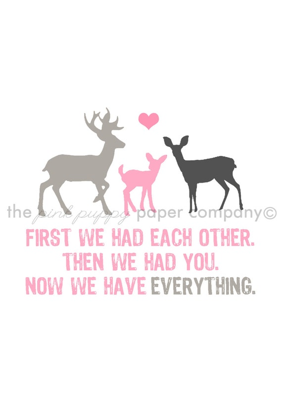 Now We Have Everything 5x7 Deer Family Print (you choose your colors)