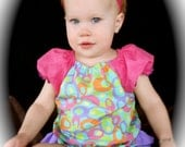 Parley Ray Pink and Purple Easter Spring Peasant style blouse and Ruffled Baby Bloomers/ Diaper Cover/ Photo Props